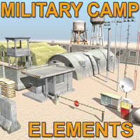 camp military element barrack 3d c4d