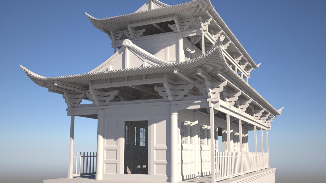 3d model chinese temple bridge
