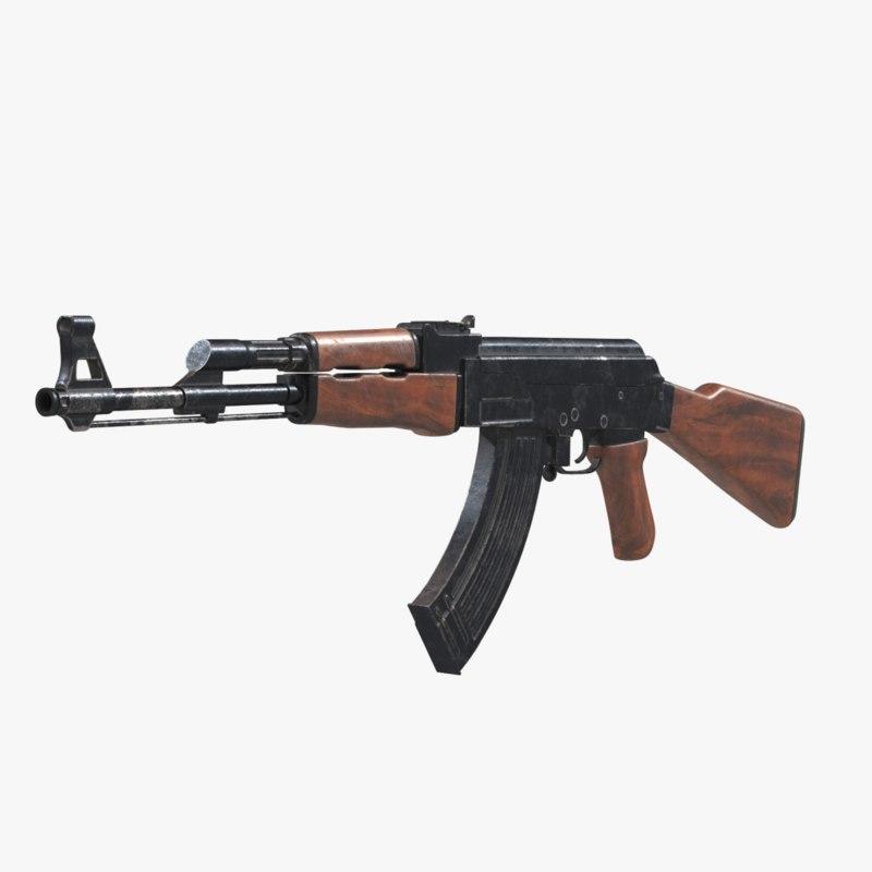 3d model of ak 47 assault rifle