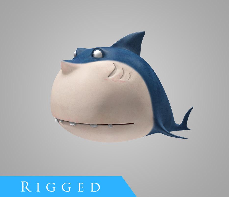 cartoon shark rigged obj