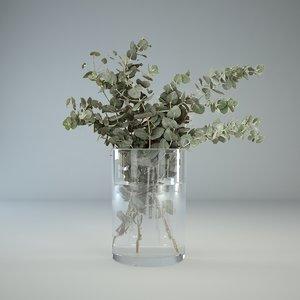 eucalyptus glass vase 3d model