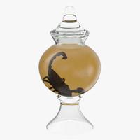 3d model vintage specimen jar frog