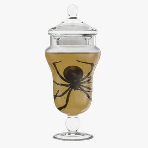 vintage specimen jar spider c4d