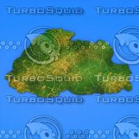 bhutan country 3d model