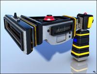 futuristic gun laser 3d obj