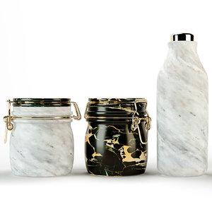 miss marble jar bottle 3d model