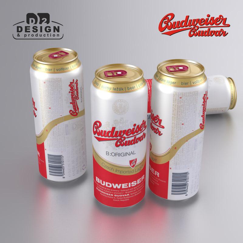 3d beer budweiser budvar model