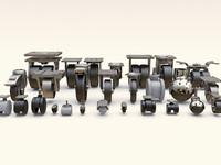 furniture castors 3d max