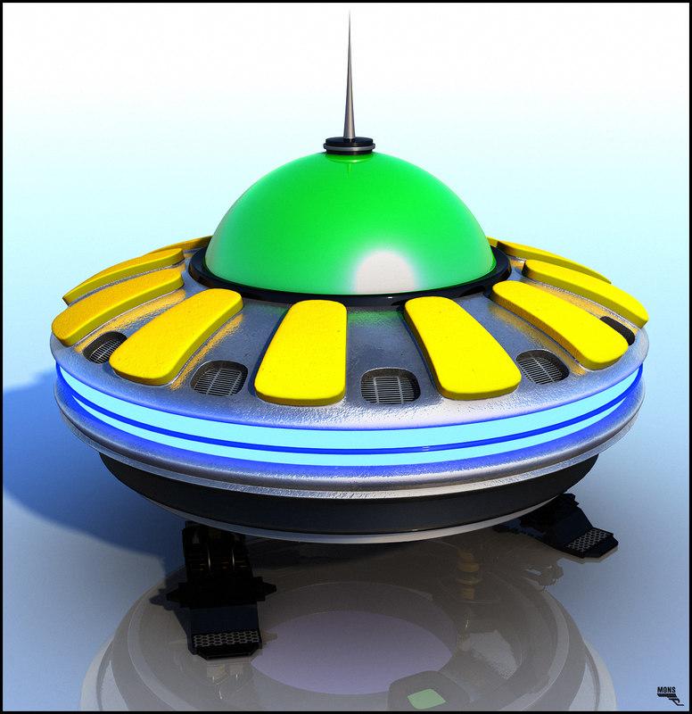 3d model flying saucer cartoon
