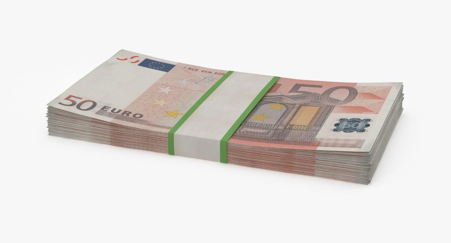 3d 50 euro bill pack
