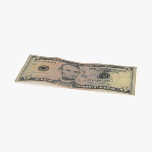 5 dollar bill single 3d max