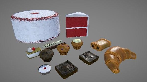 croissant cake 3d model