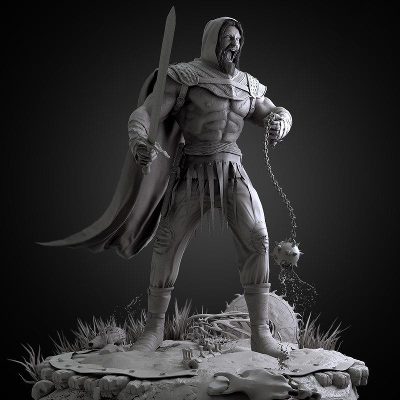 3d model brutal warrior zbrush