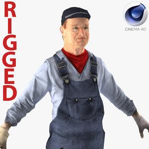 3d model locomotive engineer rigged
