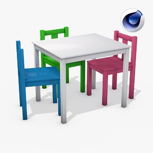childrens table chairs 3d model