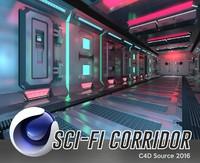 3d corridor scene model