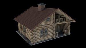 3d c4d wooden house