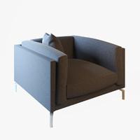 3d model armchair sofa chair como