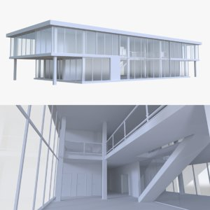 modern office interior buildings 3d model
