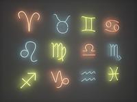 Neon Lights - Zodiac Symbols