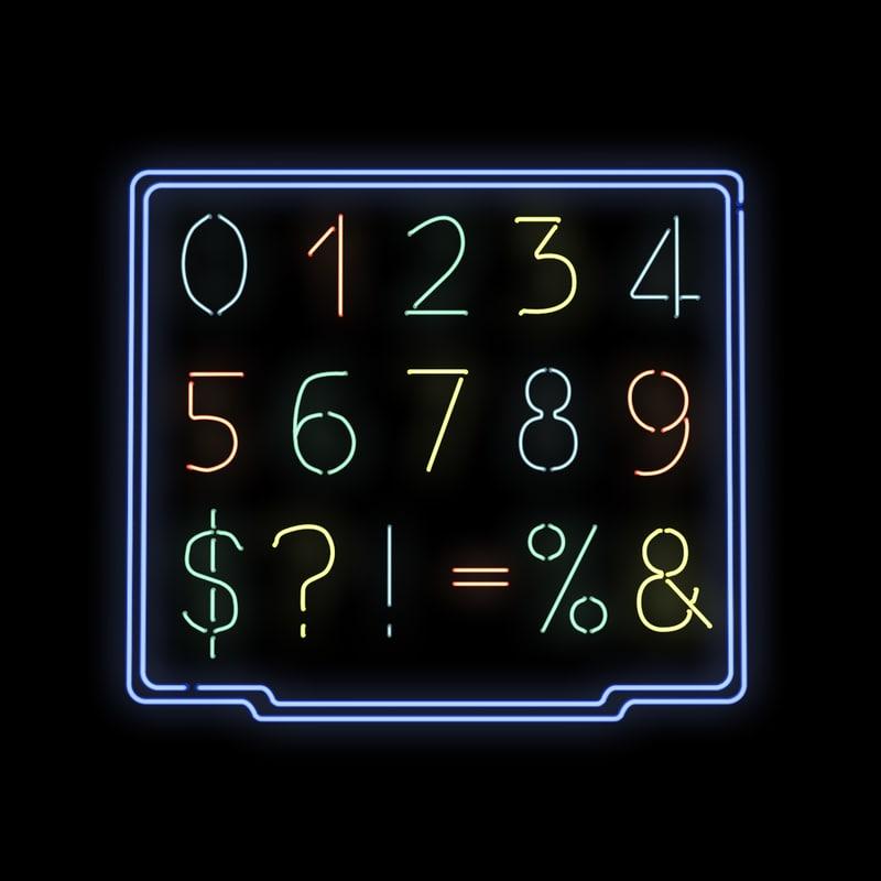 3d model neon number