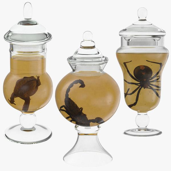 3d vintage jars