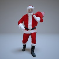 santa claus gifts people human 3d model