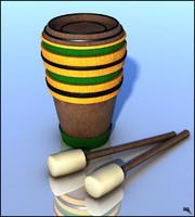 3d model cartoon drum