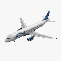 3d model airbus a320 jetblue animation
