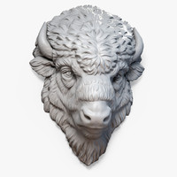 3d model american bison buffalo head