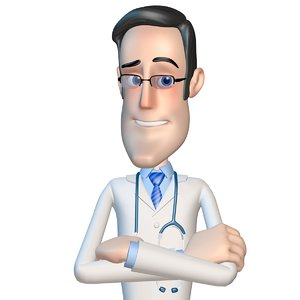 3d cartoon doctor man character model