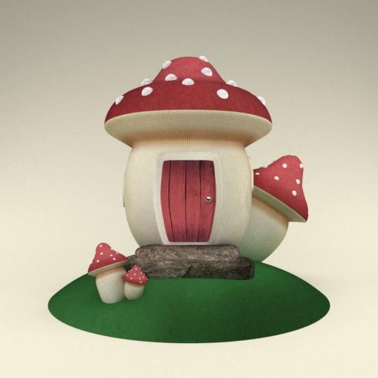 3d scenery house mushrooms model