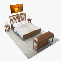 3d model bedroom set 1 double bed