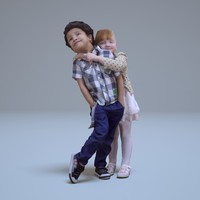 3d baby hugs people human model