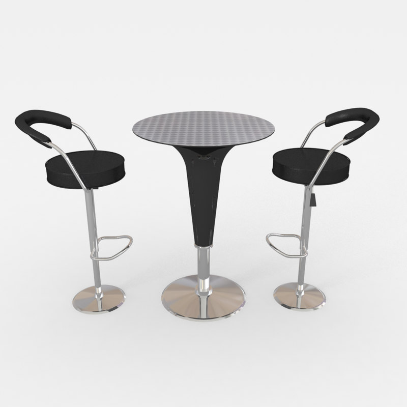 3d model cocktail table barstool