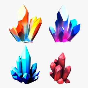 stylized crystal pack 3d model
