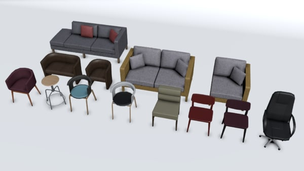 free obj model chair sofa