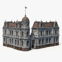 3d model old european house