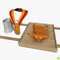 3d pig roasted piglet model