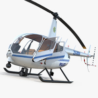 police helicopter robinson r44 3d model