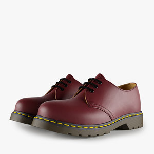 3d leather red shoes model