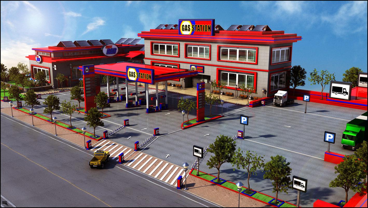 3d gas station parking model