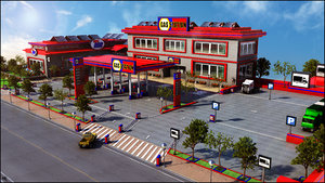 3d gas station parking model