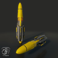 Military missile 1 low poly