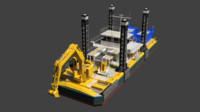 3ds dredger barge