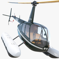 3d helicopter robinson r44 floats model