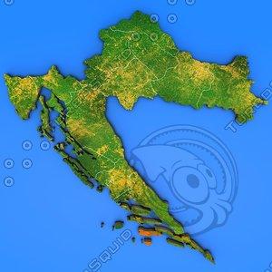 croatia country 3d max