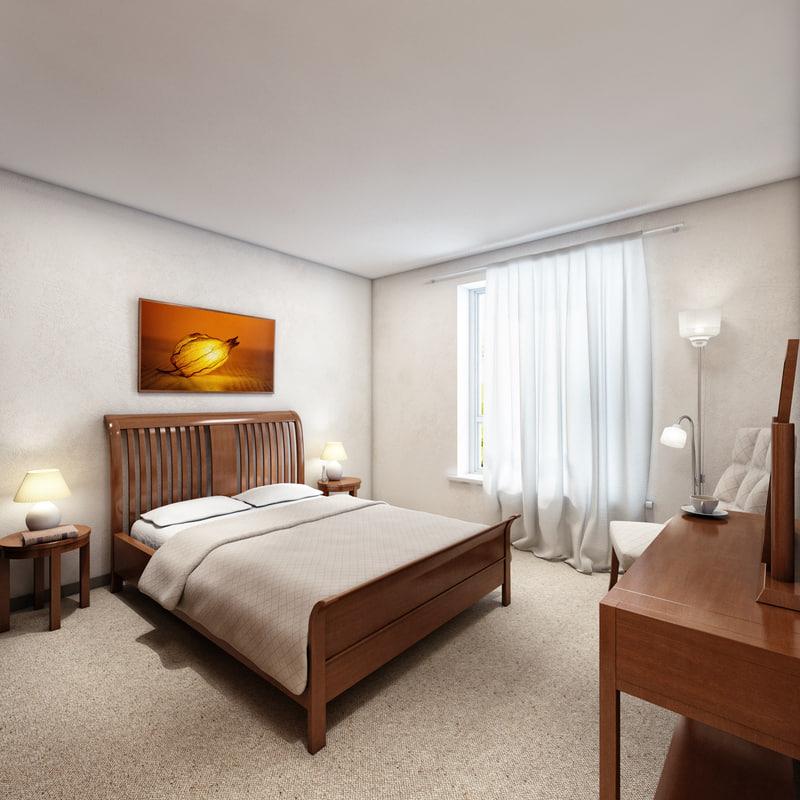 3d model interior bedroom scene 1
