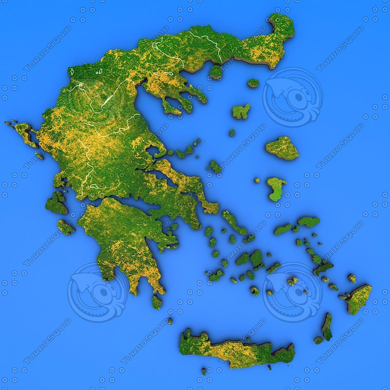 Country Of Greece Map.Greece Country 3d Model