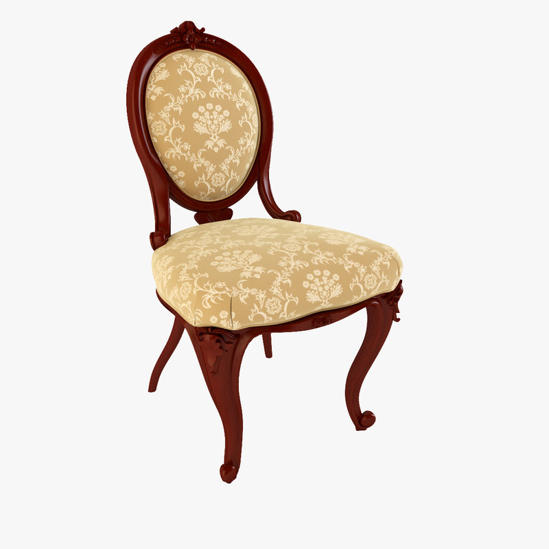 3d model victorian walnut ladies spoon chair
